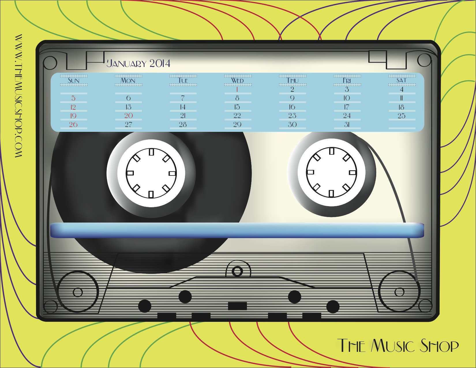 This calendar is designed for the Music Shop. All the pages have the same cassette on them with different backgrounds. The Cassette plays from left to right until the last month of the year.